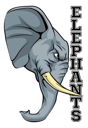 angry elephant: An illustration of a cartoon elephant sports team mascot with the text Elephants Illustration