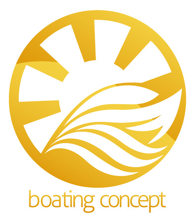 boat motor: An abstract illustration of a motor speed boat or yacht circle  concept design Illustration