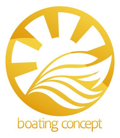 speed boat: Un ejemplo abstracto de un dise�o de barco de la velocidad del motor o yate concepto c�rculo