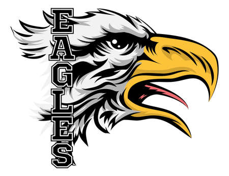 animal  bird: An illustration of a cartoon eagle sports team mascot with the text Eagles Illustration
