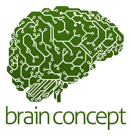 An illustration of an electrical circuit board brain in profile, artificial intelligence science concept