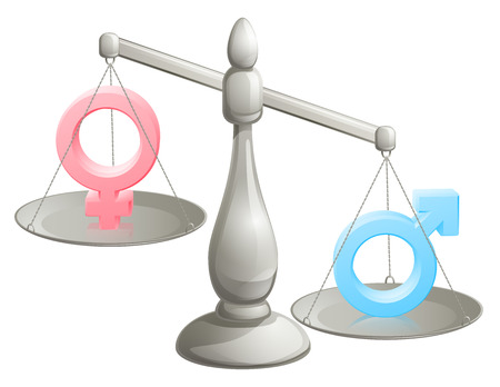 male female: Man woman scales concept with male and female symbols, the male weighing more