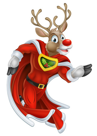 caped: A cute cartoon superhero Christmas reindeer character running Illustration