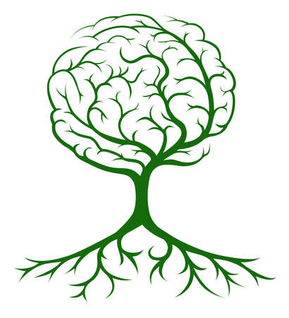 plant with roots: Brain tree concept of a tree growing in the shape of a human brain. Could be a concept for ideas or inspiration Illustration