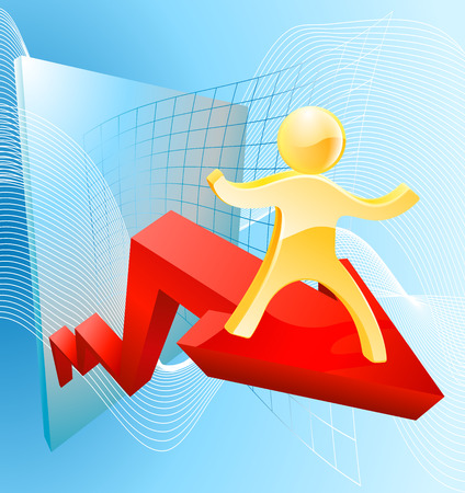 forefront: Business success concept of a 3d gold man mascot on an arrow with an upward trajectory
