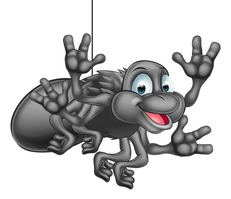 cartoons animals: A happy cute cartoon spider hanging from its web and waving Illustration