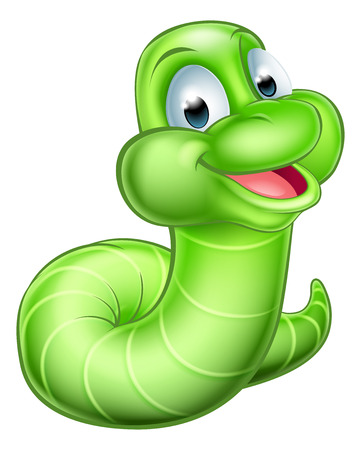 lombriz de tierra: Una ilustración de un feliz de dibujos animados lindo oruga verde gusano mascota