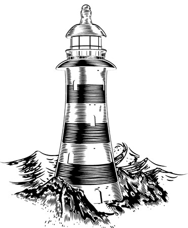 engraving print: A lighthouse on top of a rocky coast with a lot of big waves