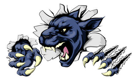 cougar: Panther sports mascot breakthrough concept of a panther sports mascot or character breaking out of the background or wall Illustration