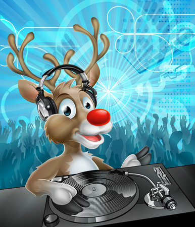 Ein Cartoon Weihnachtsren-DJ mit Kopfhörern auf an den Plattenspieler mit Partytanzende Menge im Hintergrund