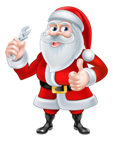 mecanic: A Christmas cartoon illustration of Santa Claus holding a spanner and giving a thumbs up Illustration