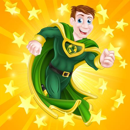 cartoon star: Una caricatura hombre s�per h�roe con una capa y traje verde y amarillo y un globo terr�queo s�mbolo en el pecho con las estrellas de fondo Vectores
