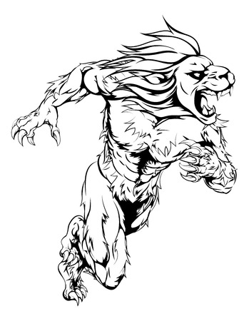 sprinting: A lion man character or sports mascot charging, sprinting or running Illustration