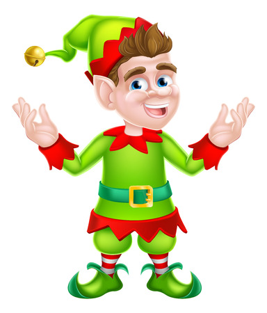 santa s elf: Cute cartoon Christmas Elf or one of Santa s Christmas helpers