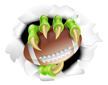 Football Claw concept of a monster claw breaking out of the background holding a football