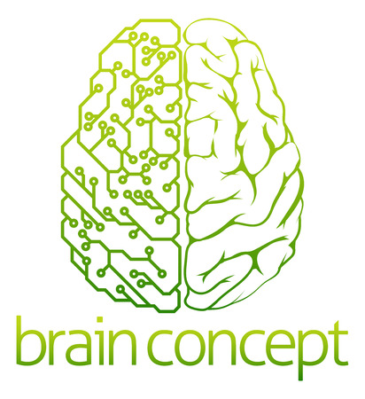 brain: An abstract illustration of a brain electrical circuit concept design