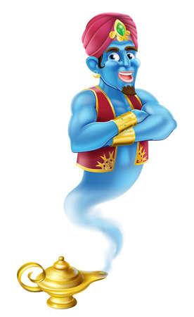 lampara magica: Una ilustraci�n de un genio de la historieta como en el cuento de Aladdin que sale de una l�mpara m�gica