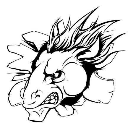 breaking out: A horse sports mascot or character breaking out of the background or wall Illustration
