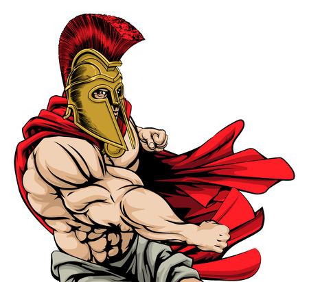 A tough muscular Spartan mascot character with red cloak in a fight punching