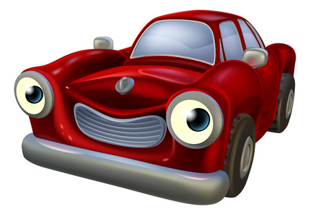 old fashioned: A happy red old fashioned car cartoon character