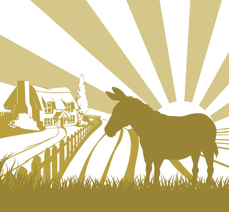 mule: An illustration of a farm house thatched cottage in an idyllic landscape of rolling hills with a donkey in silhouette standing in the foreground