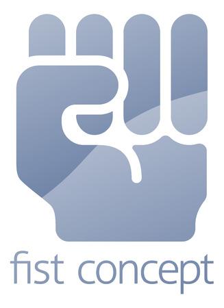 ballen: Faust-Symbol Konzept Abbildung einer Hand in in ballen die Faust Geste