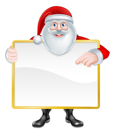 Christmas cartoon illustration of Santa Claus holding a sign and pointing at it. Illustration