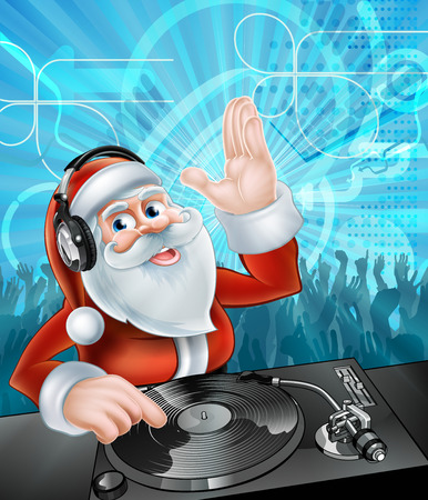 chrismas background: Cartoon Christmas Santa Claus DJ with headphones on at the record decks with party dancing crowd in the background Illustration