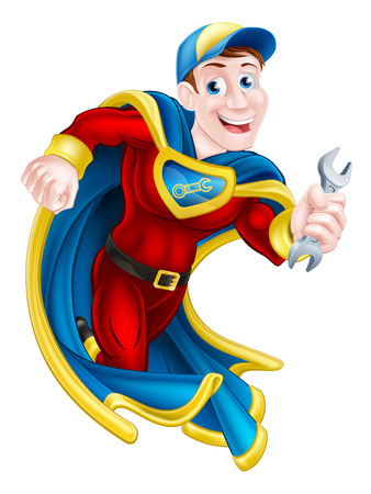 Illustration of a cartoon mechanic or plumber superhero mascot holding a spanner