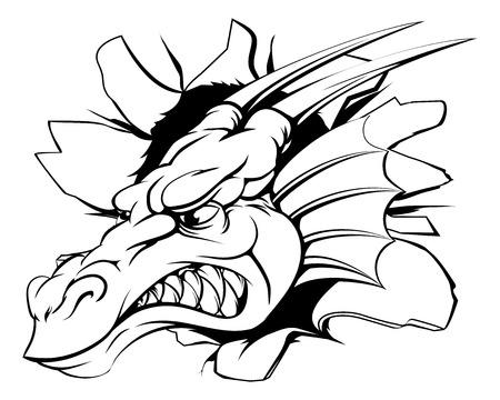 cabeza de dragon: Cabeza de drag�n rompiendo fuera de la pared o de fondo Vectores