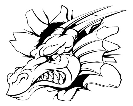 smashing: Dragon head smashing out of the wall or background Illustration
