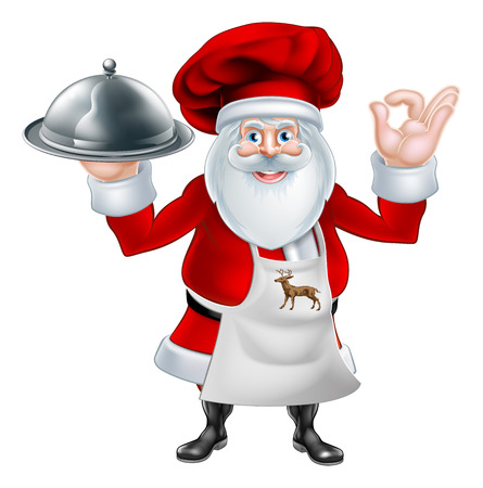 An illustration of a cartoon Santa Claus chef or cook character wearing an apron and chef hat holding a plate or platter of food