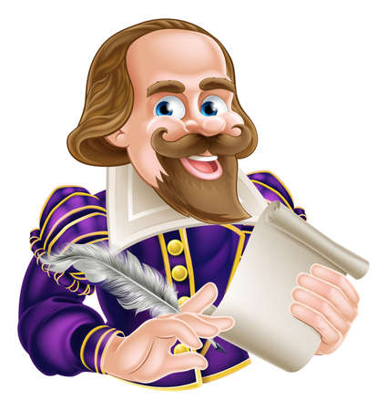 bard: Cartoon of William Shakespeare holding a feather quill and scroll Illustration