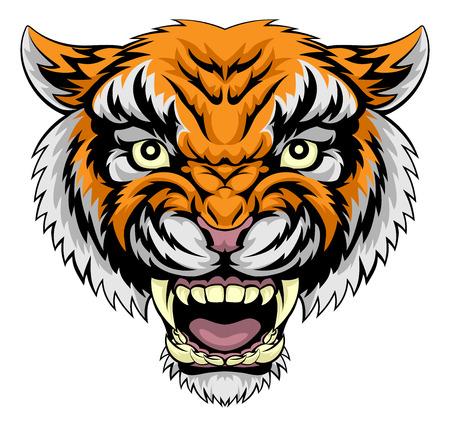 Cartoon tiger face roaring