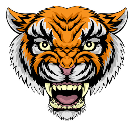 tiger white: An illustration of a mean powerful tiger animal face