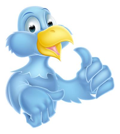twitter: Bluebird bird mascot character giving a thumbs up