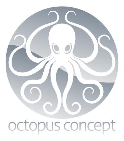 calamar: Un ejemplo abstracto de un diseño del círculo concepto de pulpo Vectores