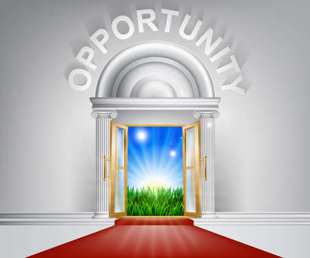posh: An illustration of a posh looking door with red carpet and Opportunity above it.