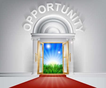 abriendo puerta: Una ilustración de una puerta de aspecto elegante con alfombra roja y Opportunity por encima de ella. Vectores