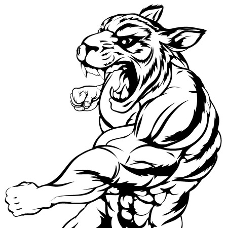 ferocious: An illustration of a mean looking tiger animal sports mascot punching