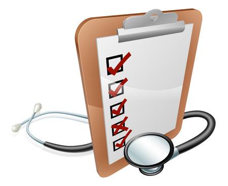 test results: Clip Board e stetoscopio illustrazione concettuale. Potrebbe riguardare test medico i risultati, l'amministrazione ospedaliera, feedback o simili