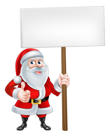 santaclaus: A Christmas cartoon Santa Claus holding a sign and giving a thumbs up Illustration