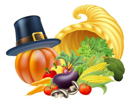 cuerno de la abundancia: Acción de gracias cuerno de oro de cornucopia llena de un montón verduras y frutas con un peregrino o un sombrero de gracias puritana
