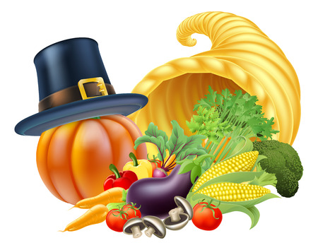 cornucopia: Thanksgiving golden horn of plenty cornucopia full of vegetables and fruit produce with a pilgrim or puritan thanksgiving hat