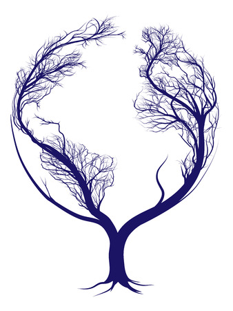 tree drawing: A tree growing in the shape of planet earth