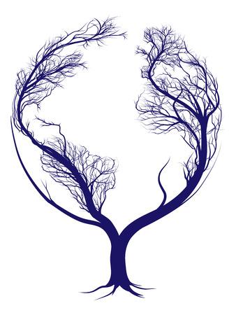 planta con raiz: Un árbol que crece en forma de planeta tierra Vectores