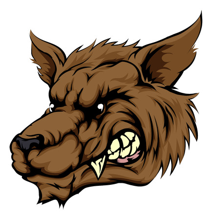 wolf face: A mean looking werewolf wolf man, or wolf sports mascot character face
