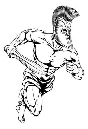 cascos romanos: Una ilustraci�n de un guerrero o gladiador car�cter o deportes mascota en un casco de estilo troyano o espartano que sostiene una espada