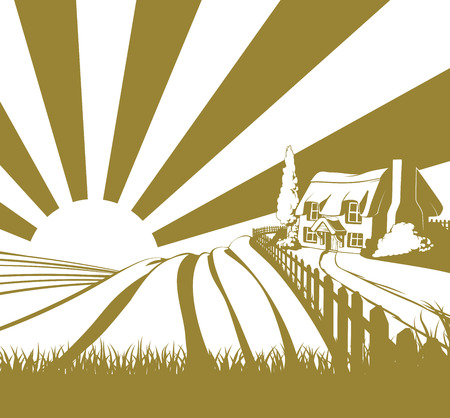 thatched: Thatched cottage farm field landscape concept illustration with rolling hills and sunrise Illustration