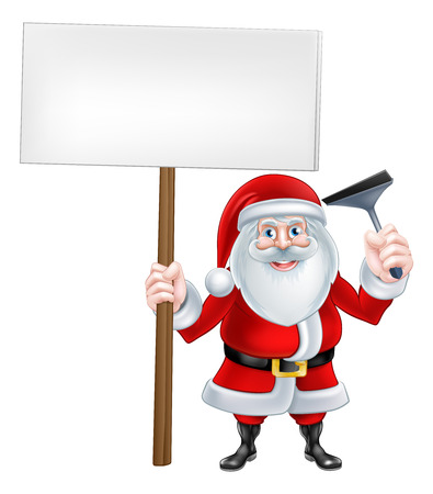 squeegee: A Christmas cartoon illustration of window cleaner Santa Claus holding a squeegee